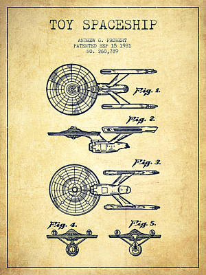 Space Ships Digital Art - Toy Spaceship Patent From 1981 - Vintage by Aged Pixel