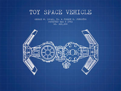 Toys Digital Art - Toy Spaceship Vehicle Patent From 1983 - Blueprint by Aged Pixel