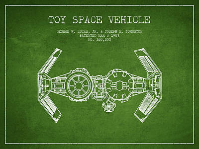 Toys Digital Art - Toy Spaceship Vehicle Patent From 1983 - Green by Aged Pixel