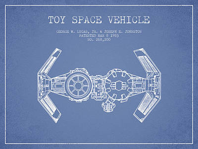 Android Digital Art - Toy Spaceship Vehicle Patent From 1983 - Light Blue by Aged Pixel