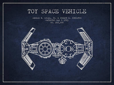 Toys Digital Art - Toy Spaceship Vehicle Patent From 1983 - Navy Blue by Aged Pixel