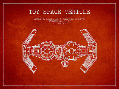 Toys Digital Art - Toy Spaceship Vehicle Patent From 1983 - Red by Aged Pixel