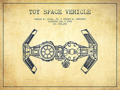 Android Digital Art - Toy Spaceship Vehicle Patent From 1983 - Vintage by Aged Pixel