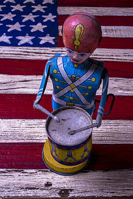 Toy Tin Drummer Art Print by Garry Gay