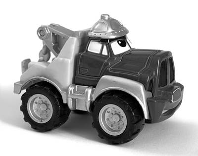 Toy Truck Photograph - Toy Tow Truck Bw by Donald  Erickson