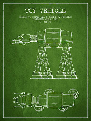 Toys Digital Art - Toy Vehicle Patent From 1982 - Green by Aged Pixel