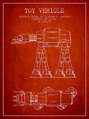 Android Digital Art - Toy Vehicle Patent From 1982 - Red by Aged Pixel