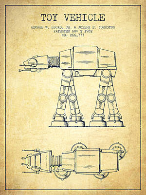 Toys Digital Art - Toy Vehicle Patent From 1982 - Vintage by Aged Pixel