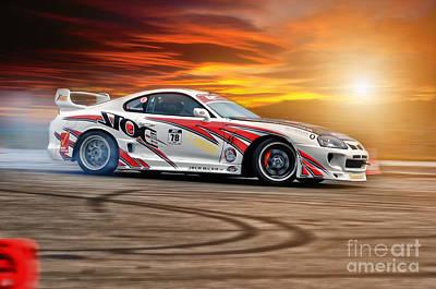 Jdm Photograph - Toyota Drift - Sunset by Martin Slotta