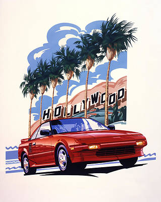 Sports Paintings - Toyota MR2 Hollywood Hills by Garth Glazier