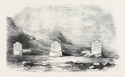 Franklin Drawing - Traces Of The Franklin Expedition The Three Graves At Cape by English School