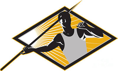 Athletes Royalty-Free and Rights-Managed Images - Track and Field Athlete Javelin Throw Retro by Aloysius Patrimonio