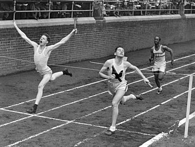 Photograph - Track Runners At Finish Line by Underwood Archives