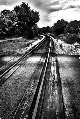 Train Tracks Photograph - Tracks Across The Line Black And White by Kelly Hazel