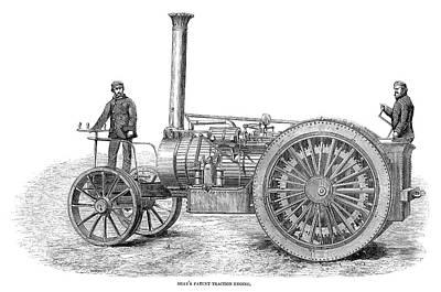 Steam Tractor Painting - Traction Engine, 1858 by Granger