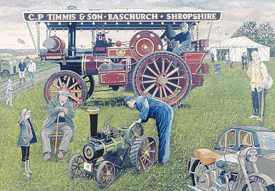 Sidecar Photograph - Traction Engines At The Show, 1993 Gouache On Card by Huw S. Parsons
