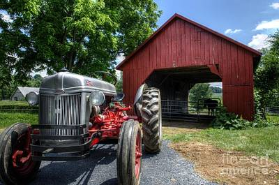 Tractor And Barn Print by Jason Barr