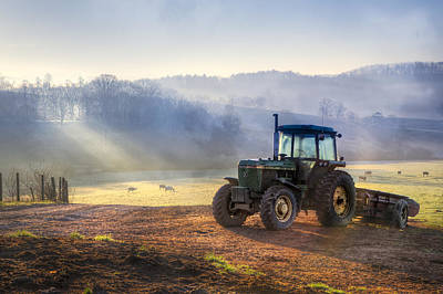 Tractor In The Fog Art Print by Debra and Dave Vanderlaan