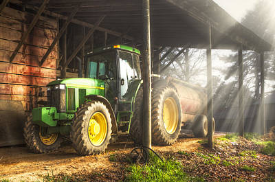 Tractor In The Morning Art Print by Debra and Dave Vanderlaan