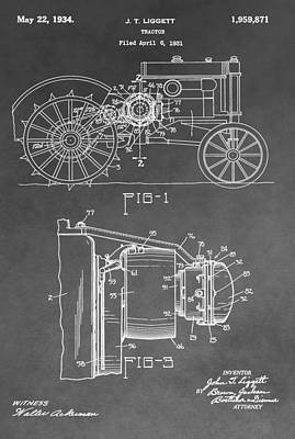 Agriculture Digital Art - Tractor Patent by Dan Sproul