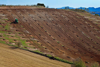 Farmscapes Photograph - Tractor Preparing A Field, Near Alhama by Panoramic Images