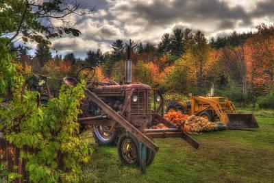 Tractors And Pumpkins Art Print by Joann Vitali