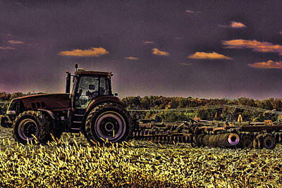 Photograph - Tractors Sunset Art 1 by Lesa Fine