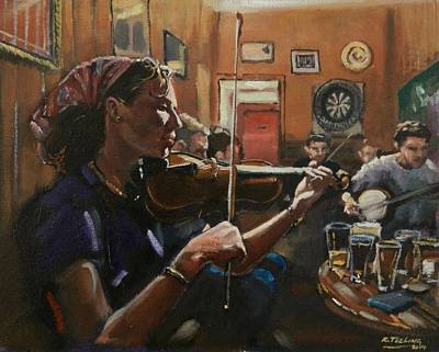 Painting - Trad Session by Robert Teeling
