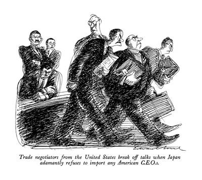 Abroad Drawing - Trade Negotiators From The United States Break by Edward Sorel