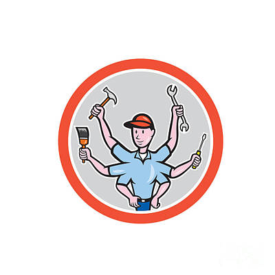 Tradesman Digital Art - Tradesman Worker Six Hand Cartoon by Aloysius Patrimonio