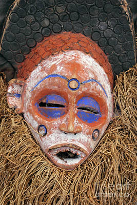 Handmade Carving Wood Photograph - Traditional African Mask by Kiril Stanchev