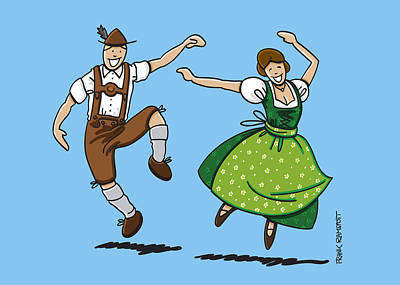 Traditional Bavarian Couple Dancing Art Print by Frank Ramspott