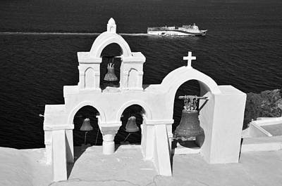 Church Photograph - Traditional Belfry In Oia by George Atsametakis