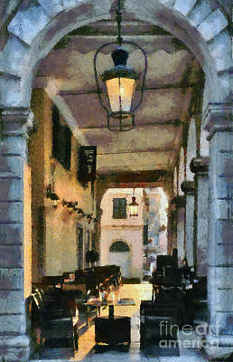 Painting - Traditional Cafe In Corfu City by George Atsametakis