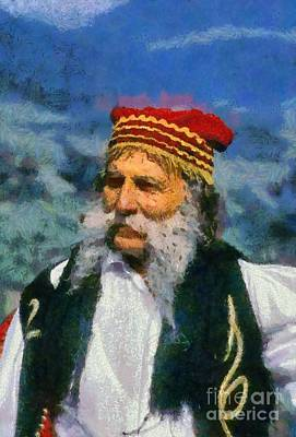 Painting - Man Dressed In Traditional Clothes In Delphi by George Atsametakis