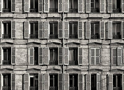 Photograph - Traditional Facade In Paris. Black And White by Francesco Rizzato