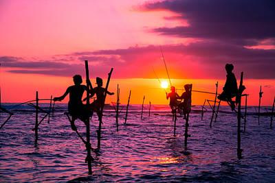 Traditional Fishermen In Sri Lanka Original by Suranga Weeratunga