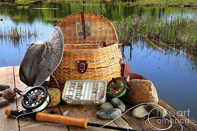 Salmon Photograph - Traditional Fly-fishing Rod With Equipment  by Sandra Cunningham