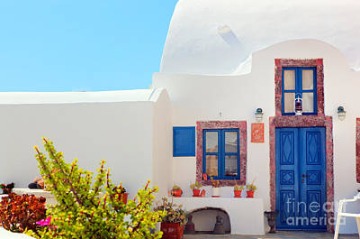 Traditional Photograph - Traditional Greek House With Blue Door And Windows Santorini Greece by Michal Bednarek