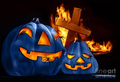 Jack O Lanterns Jackolantern Photograph - Traditional Halloween Decorations by Anna Om
