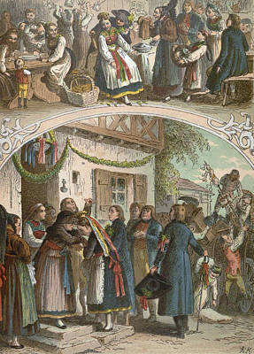 Archives Drawing - Traditional Hungarian Wedding, Hungary, 19th Century by Hungarian School