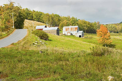 Photograph - Traditional Maine Farm On Side Of Hill Canvas Poster Prints by Keith Webber Jr