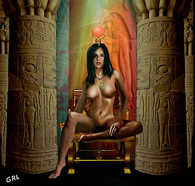 Painting - Traditional Modern Female Nude Egyption Goddess Isis Of Magic by G Linsenmayer