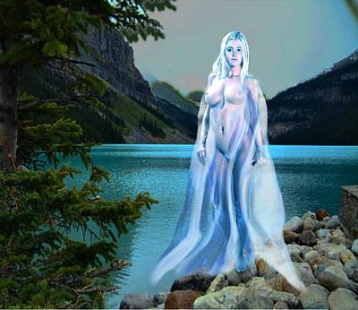 Art Print featuring the painting Traditional Modern Female Nude Lady Of The Lake by G Linsenmayer