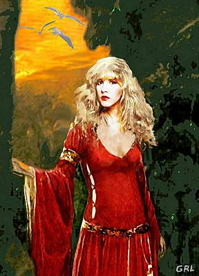 Painting - Traditional Modern Original Painting Stevie Nicks Rhiannon Detail by G Linsenmayer