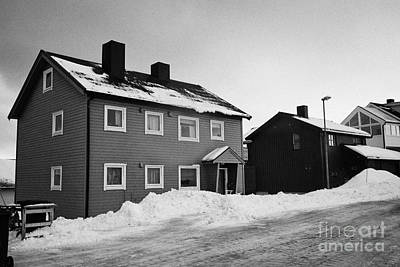 traditional red painted wooden house Honningsvag finnmark norway europe Print by Joe Fox
