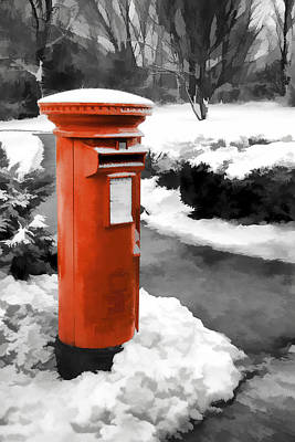 Photograph - Painted Effect - Traditional Red Post Box by Susan Leonard