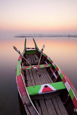 Oar Photograph - Traditional Rowing Boat Moored On The by Lee Frost / Robertharding