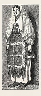 Slavic Drawing - Traditional Slavonic Dress by Litz Collection