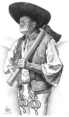 Slovak Drawing - traditional Slovak woodsman with axe-forester by Vlado Ondo